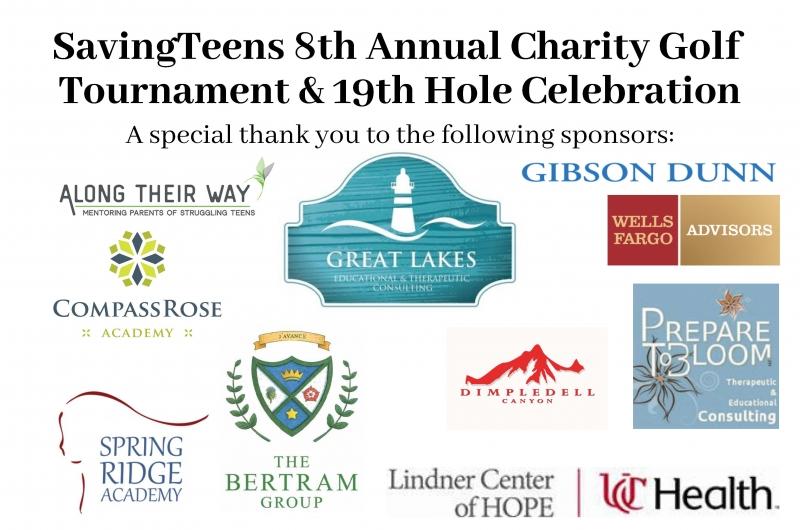 SavingTeens 8th Annual Charity Golf Tournament & 19th Hole Celebration table tent draft