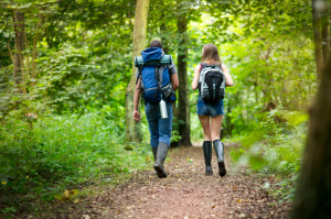 hiking teenager couple