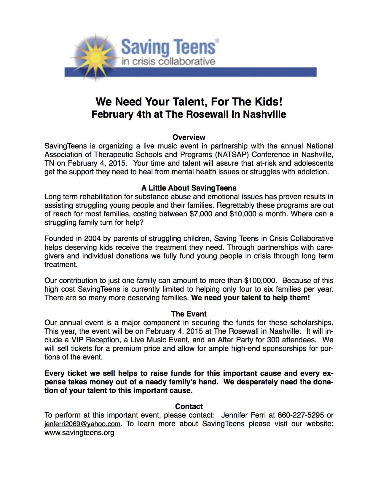 SavingTeens Talent Request
